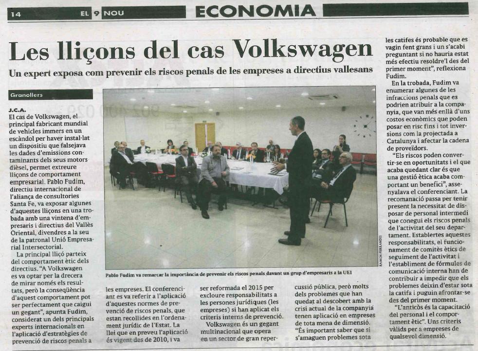 artículo El9 Nou tertulia caso Volkswagen