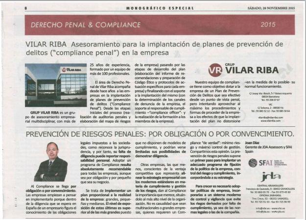SFAI Spain en el especial Derecho penal & Compliance de La Vanguardia