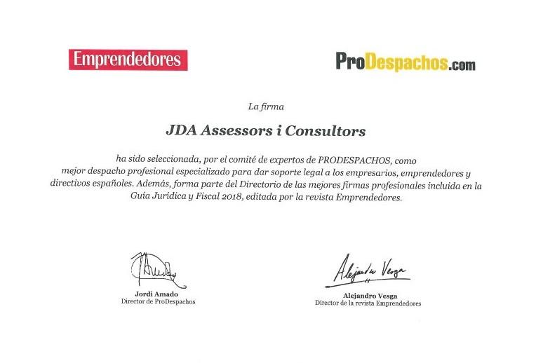 JDA/SFAI galardonado como mejor despacho profesional para emprendedores