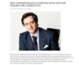 Nuestro socio Confianz en la lista Best Lawyers por segundo año