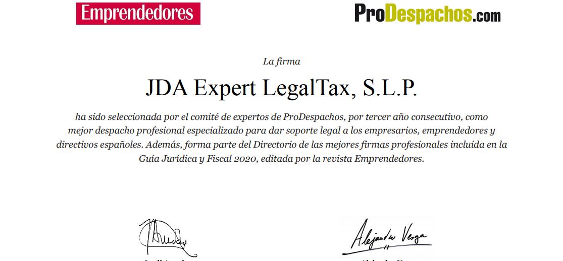 JDA mejor despachos por tercer año consecutivo Prodespachos
